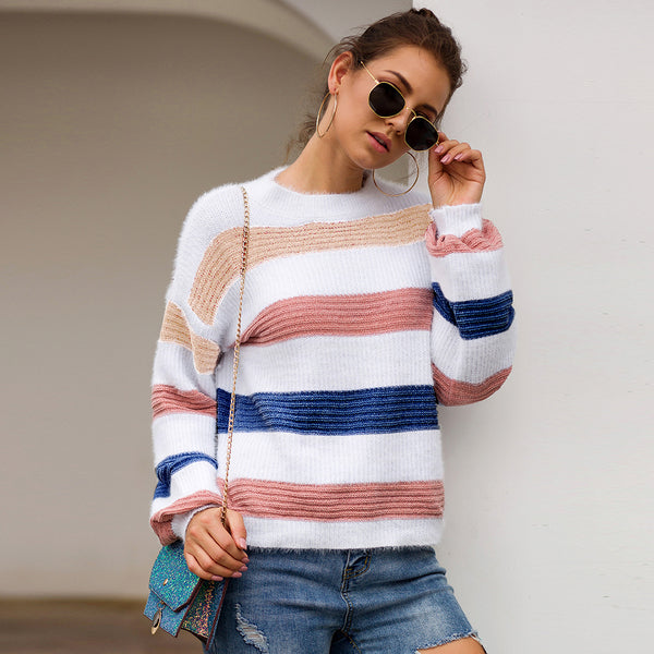 2019 Autumn And Winter Color Matching Loose Pullover Sweater