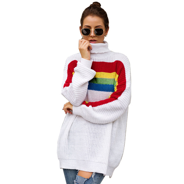 New Rainbow Strip Flattened Long-sleeved High-neck Knitted Sweater