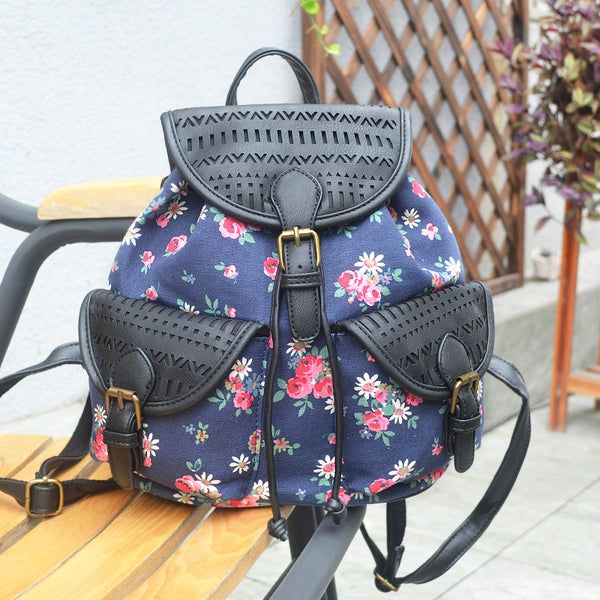 Shopy7 PU Leather Canvas Print Bag Student Canvas Double-shoulder Bag