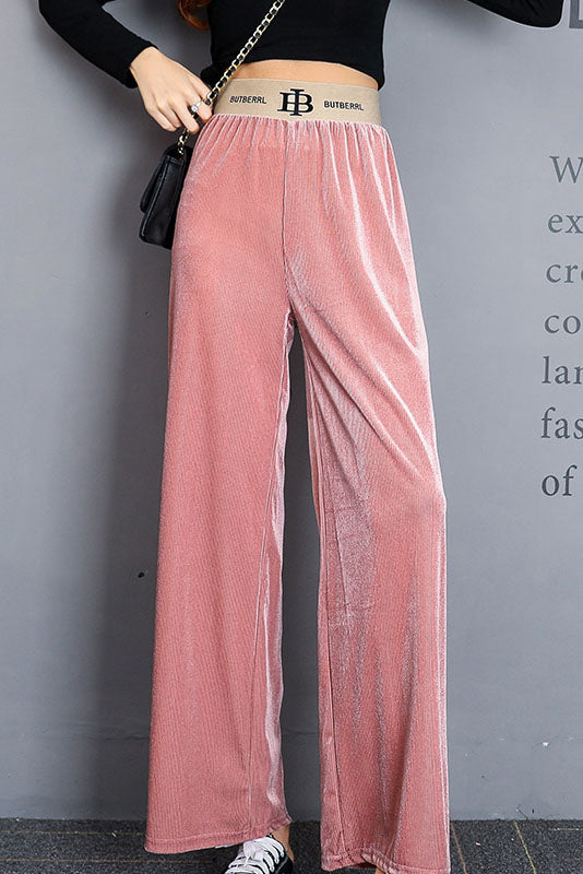 Shopy7 High Recommend Gold Velvet Elastic Waist Wide Leg Pants