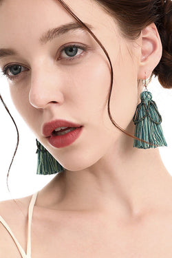 Shopy7 Handmade Cotton Thread Tassel Earrings Bohemia High Quality Rice Bead Earrings