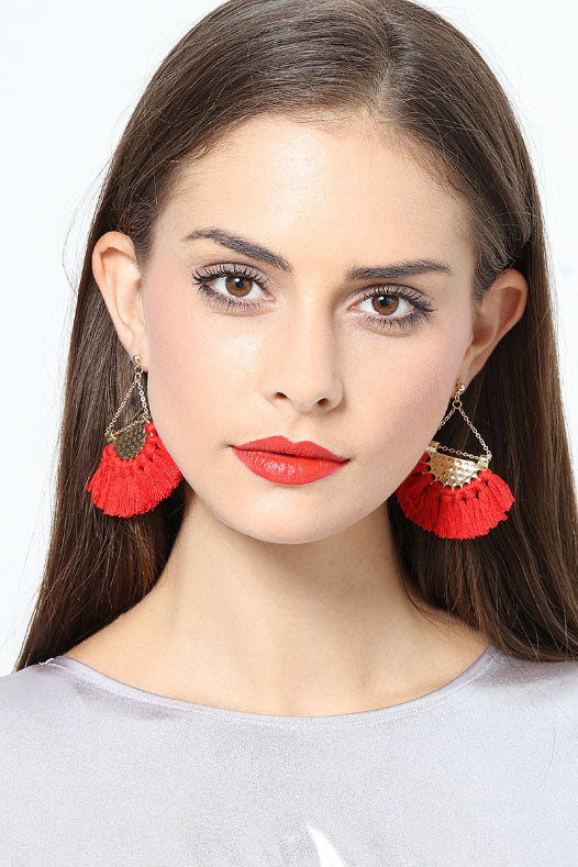 Shopy7 Fan Shaped Tassel Earrings Women's High Grade Bohemian Earrings