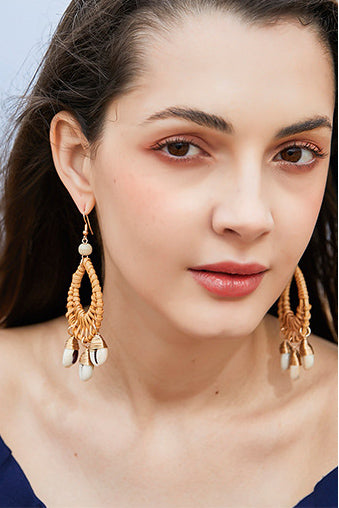 Natural Rattan Handmade Earrings Fashion Shell Earrings Female Earrings
