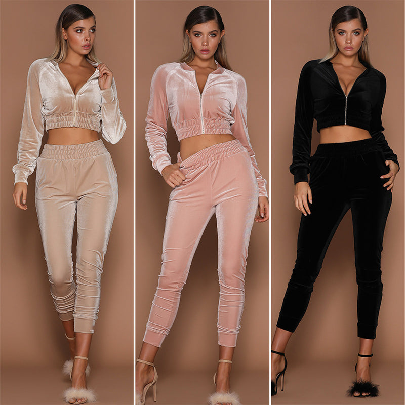 Popular fashion diamond velvet zipper cardigan sweater casual pants suit new for women in autumn and winter
