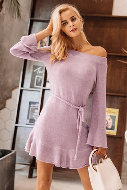 New Arrival One Neck Off Shoulder Lace Knit Sweater Dress