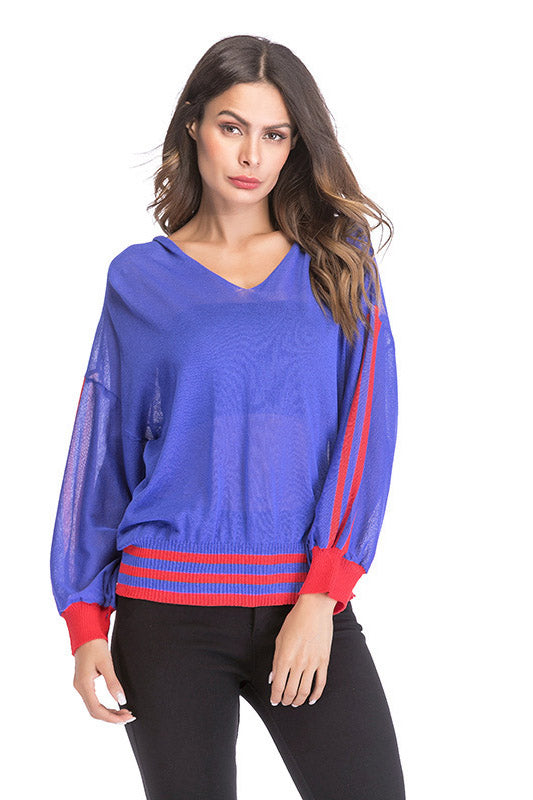 V-neck Striated Hollow Perspective T-shirt Loose Casual Thin Sweatshirt