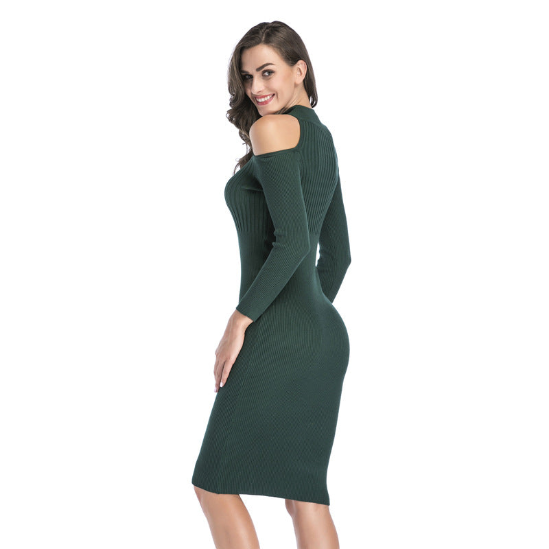 Shopy7 Autumn/Winter 2019 Shoulder-exposed Knitted Dress Slim Fit Skirt