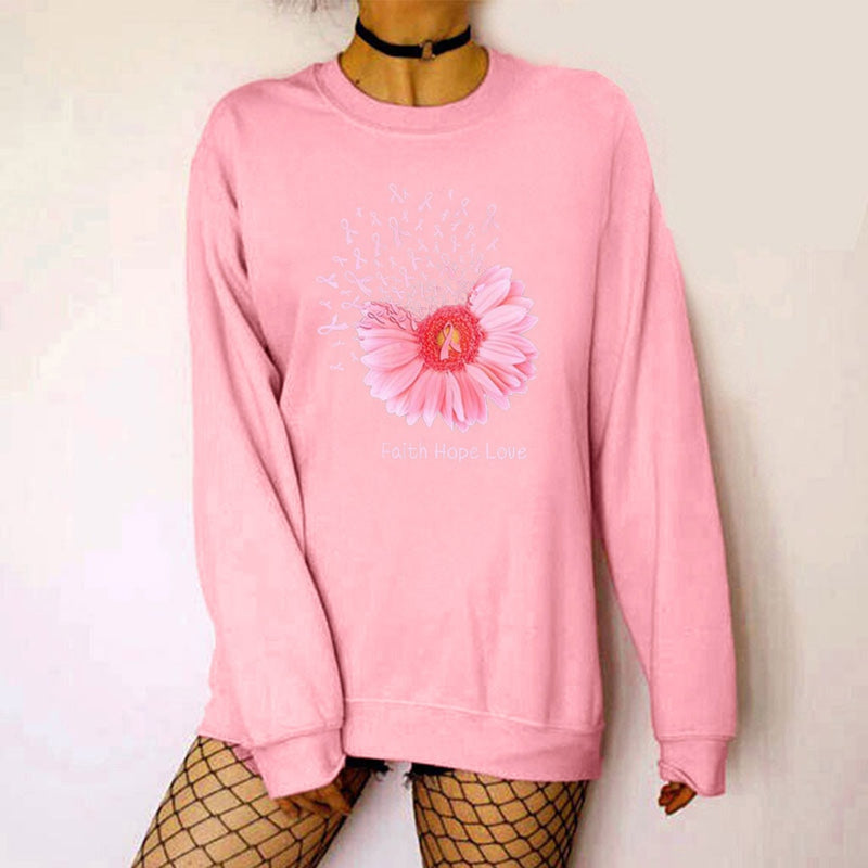 Women's Sweatshirt  Hoody Winter flower Print Round Neck Long Sleeve Plus Velvet pullover Tops sudadera