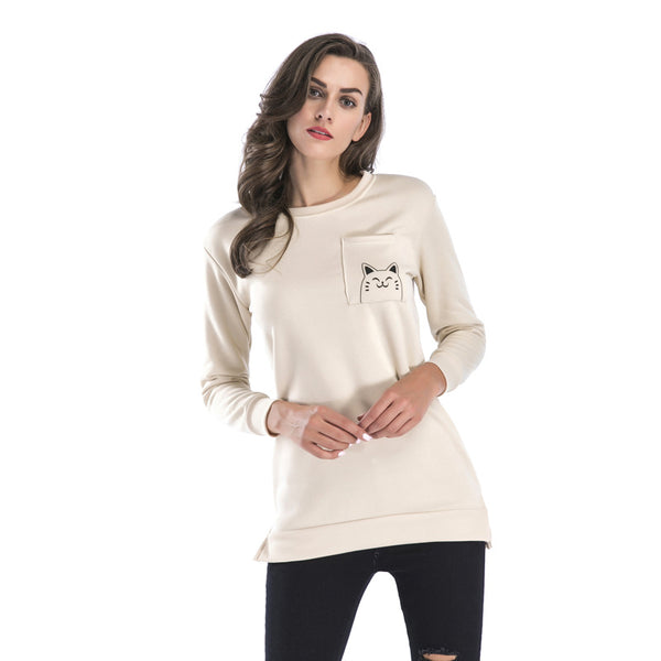 Crewneck Hem Split Cartoon Print Plus Velvet Long Sweatershirt