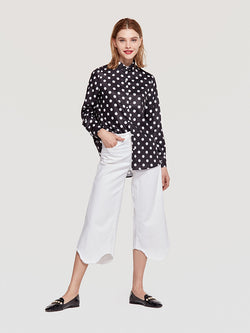 Fashionable Polka Dot Slim Lapel Printed Women's Shirt