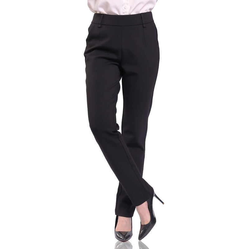 Women's Straight Leg Elastic High Waist  Dress Pants