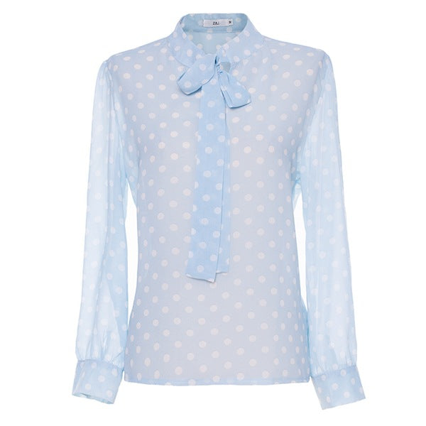 New Arrival Casual Butterfly Knot Chiffon Women's Shirt