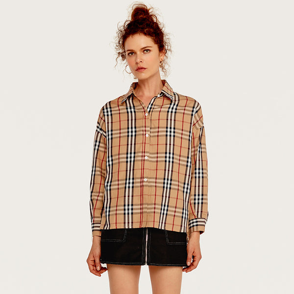 Fresh Plaid Stripe Women's Shirt Casual Irregular Thin Shirt