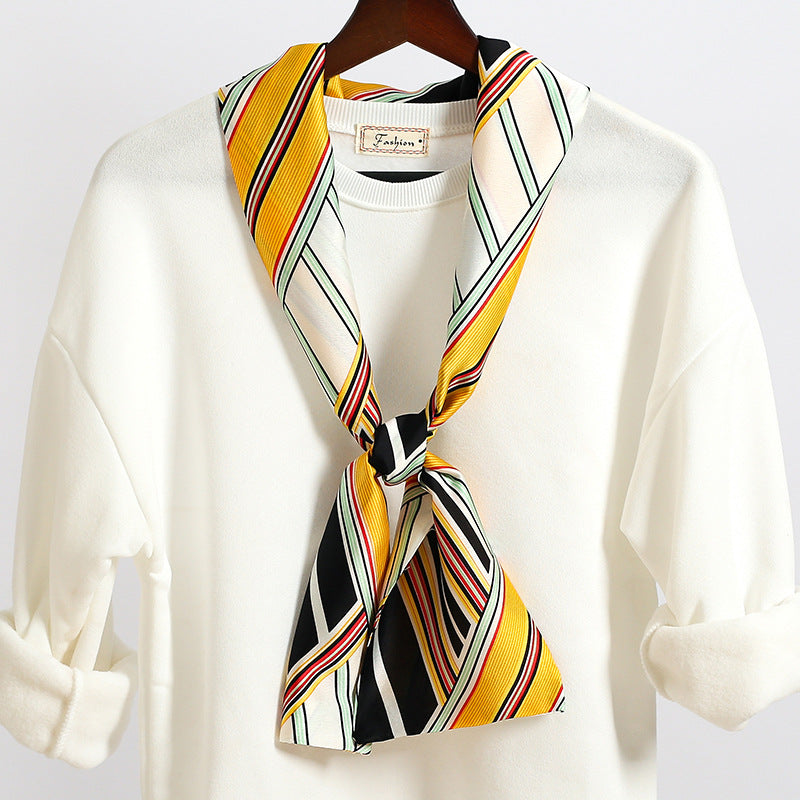 Fashion Versatile Women Narrow Stripe Printed Scarf