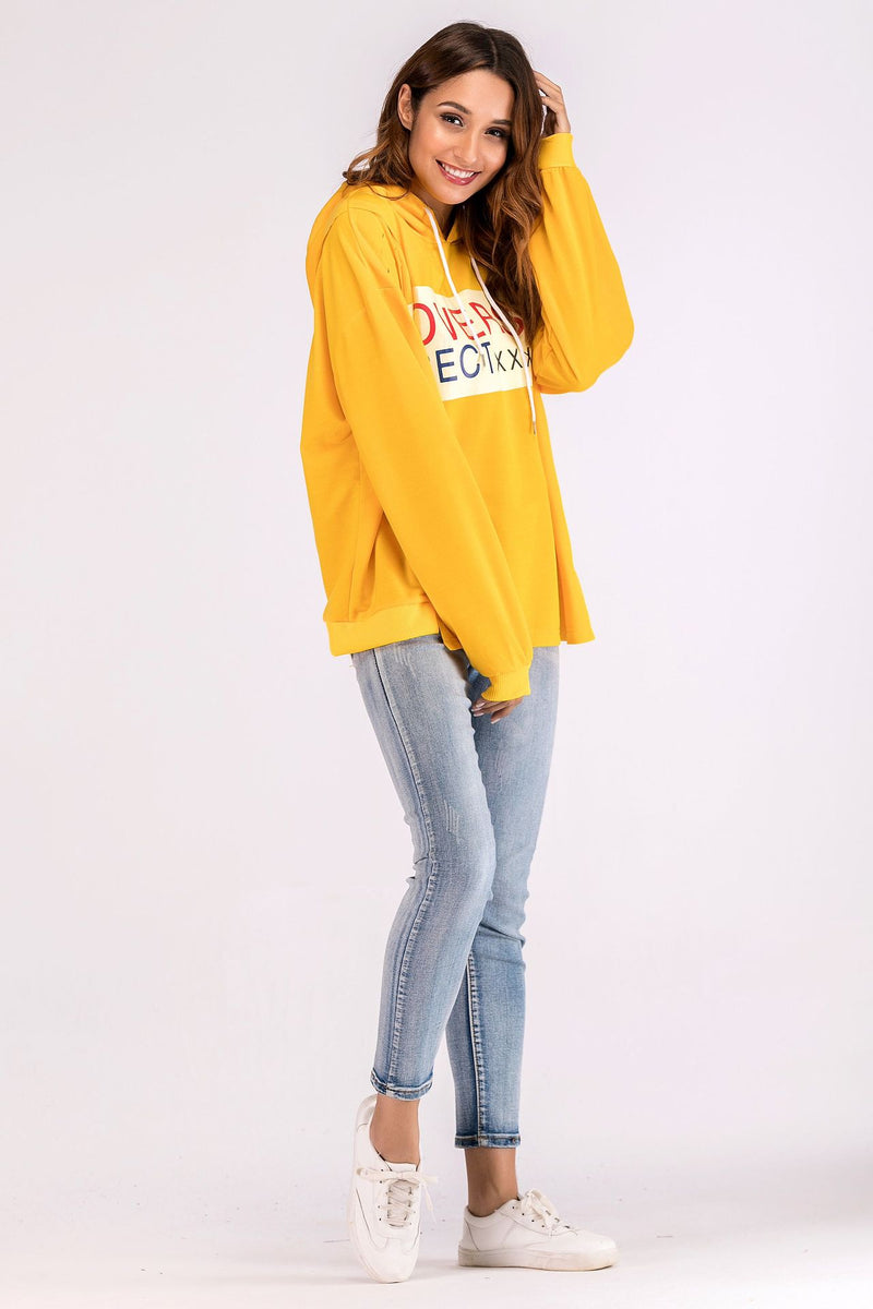 New Letter T-shirt Hooded Long-sleeved Draw-rope Suit