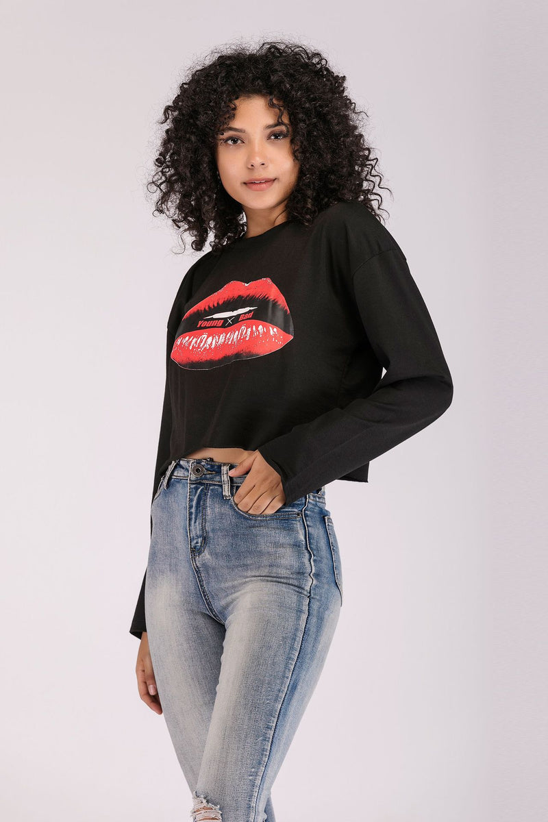 Personalized Short Style Sweatshirt Big Red Lip Print Tops For Women