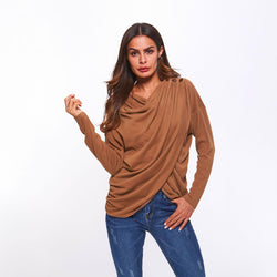 New fashion sport jumper with sheer pleated V-neck long-sleeved body-fitting large size women's bodysuit