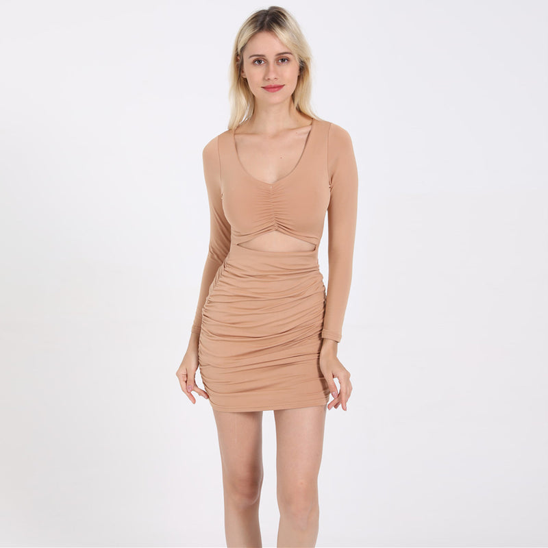 Shopy7 Great Quality Long-sleeved Sexy V-collar Trimming Dress