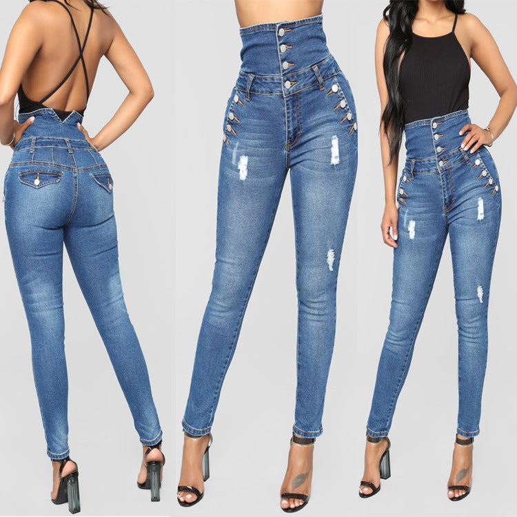 2019 New Arrival High Waisted Four Breasted Stretch Fit Jeans
