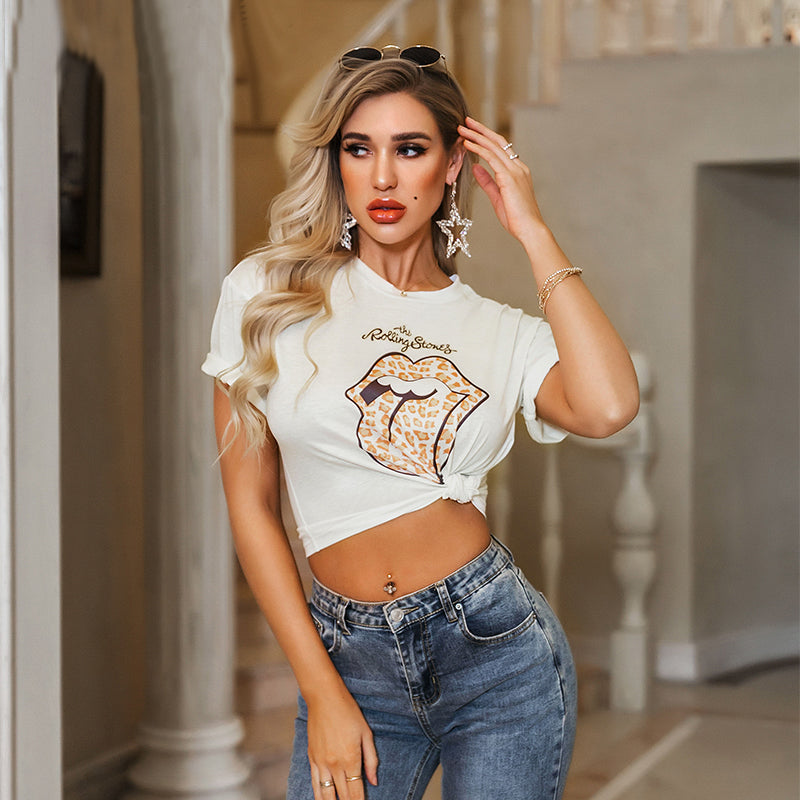 Tongue print T-shirt classic female sexy wild Shirt Top