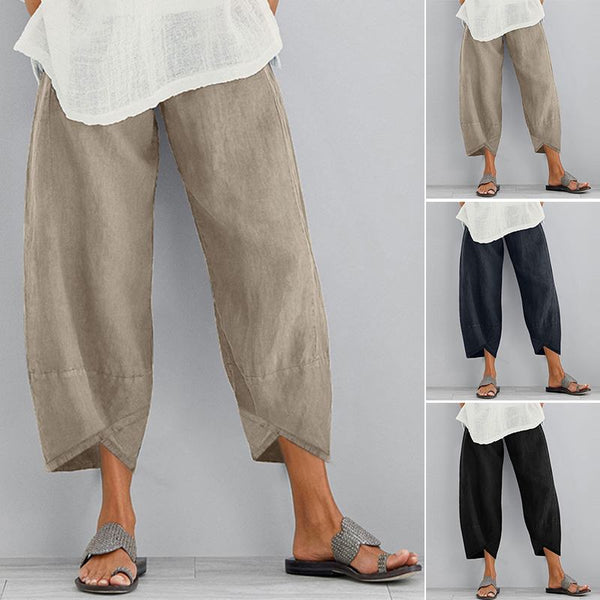 Autumn Cropped Pants Womens Tousers Casual Elastic Waist Asymmetrical Pantalon Kaftan Female Cotton Pants Plus Size