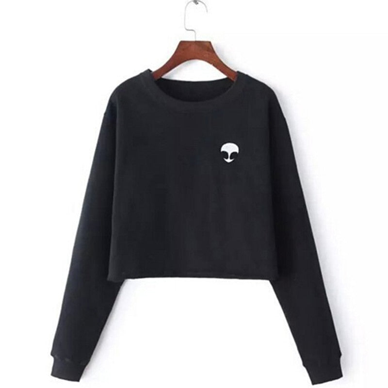 Autumn Long Sleeve Women Sweatshirts Casual O-Neck Cropped Pullovers Female Hoodies Coats Fashion Print Short Hoodies Grey
