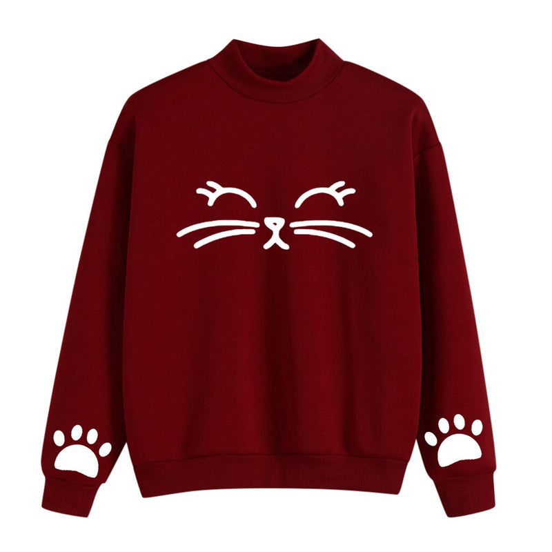 Autumn Winter Women NO hat Long Sleeve Letters Printing Sweatshirt With Cat Ear Hat Lady Girls Casual Pullover