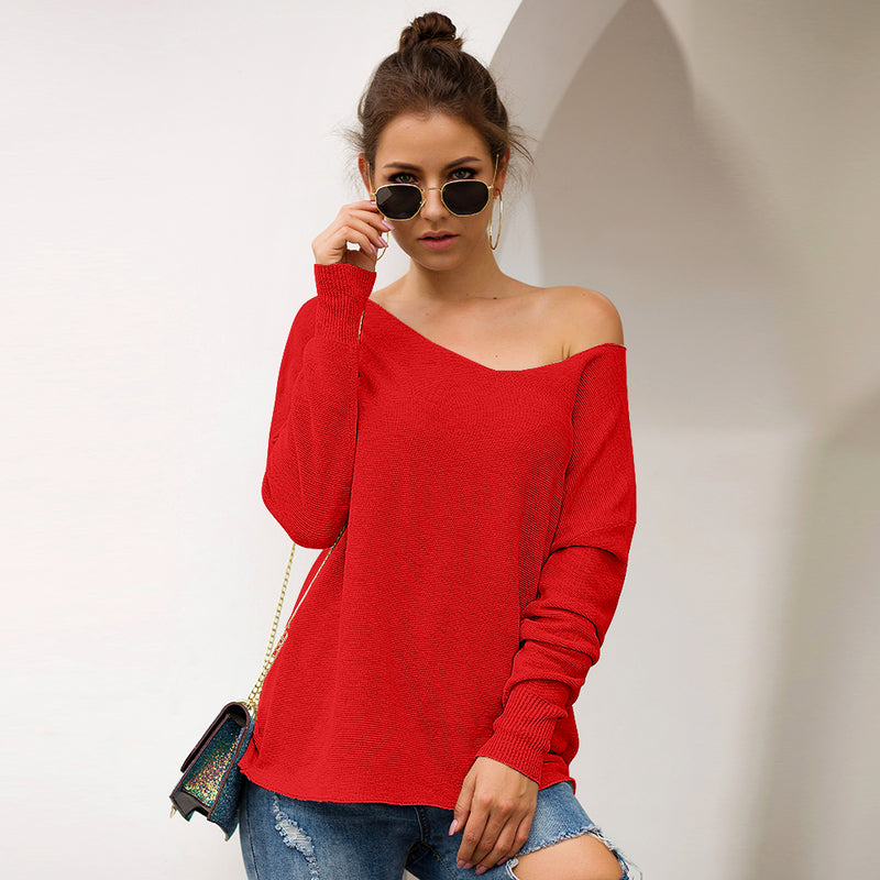 Three-color Lazy Wind Sweater Loose Knit Sweater Burst 2019