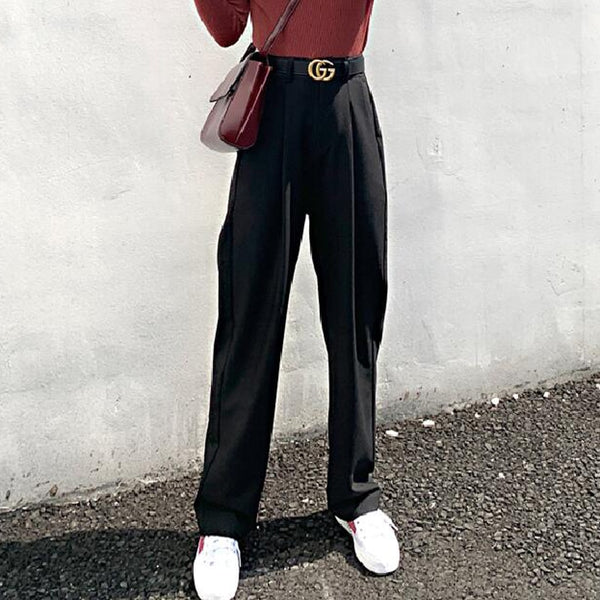 Chic High Waist Loose Straight Pants Women Office Ladies Suit Pant 2020 Autumn Female Long Trousers pantalon femme