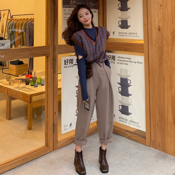 Fashion Half-elastic Waist Loose Harem Pants Women Casual Long Suit Pants Female Pockets Women Trousers pantalon femme