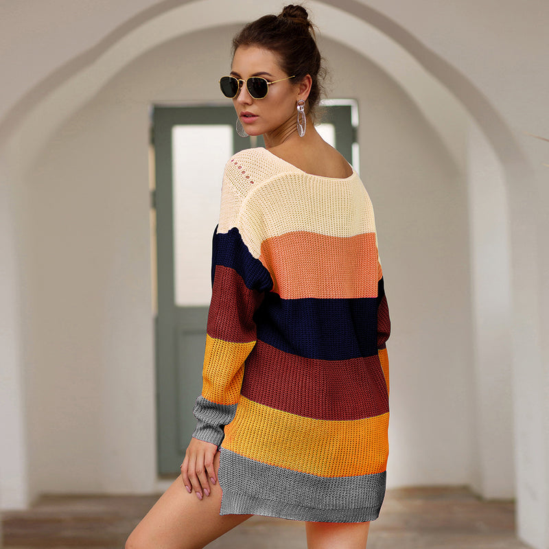 2019 Autumn And Winter New Rainbow Color Matching Loose Sweatershirt