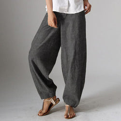 Plus Size Women Striped Harem High Waist Casual Pants Loose Fit Cropped Trousers
