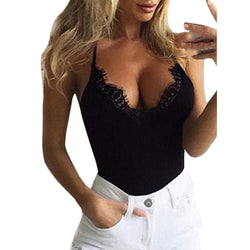 Crop Top Women Vest Sexy Tank  Casual Slim Sleeveless Tanks Lace Sexy Tank Top Deep V Neck Short Vest Blouse  Women