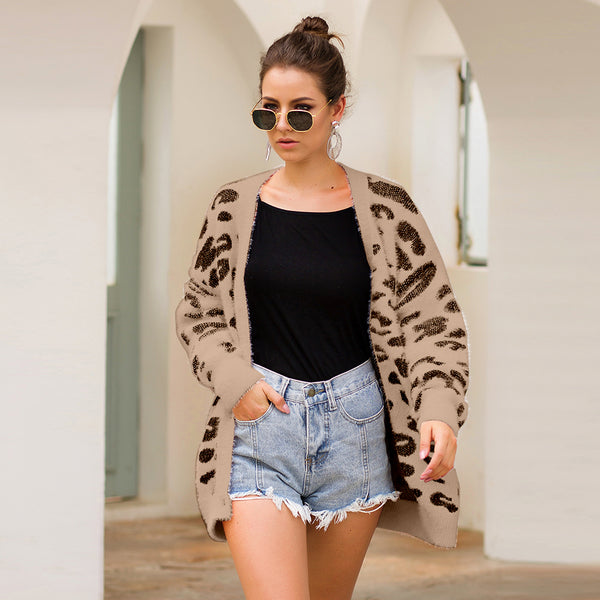 Three-color leopard print long-sleeved cardigan knitted sweater