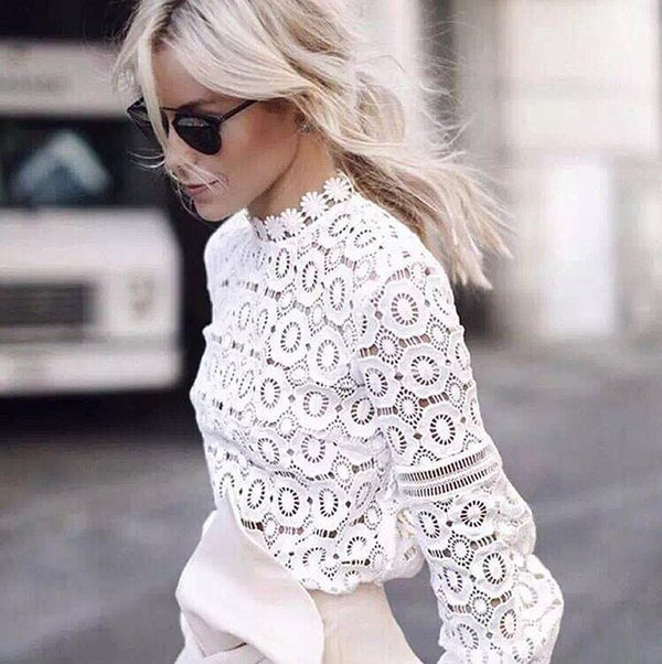 Elegant white lace shirt women's Lantern Sleeve sexy autumn top