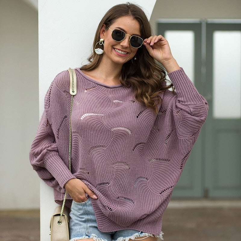 O-neck hollow women's Pullover solid color loose autumn and winter leisure