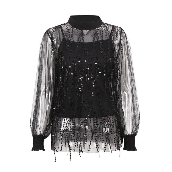 Sexy lace Sequin top women's Lantern Sleeve spring and summer