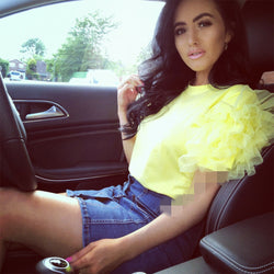 Elegant Women Summer Layered Lace Tulle Ruffle Short Puff Sleeve Shirt Ladies Loose Casual Blouse Top