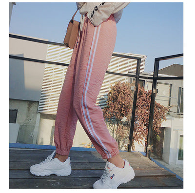 Fashion Casual Sweatpants Pants Side-Stripe Women Loose Elastic Waist Sportswear Women'S Pants New Bottoms 2020