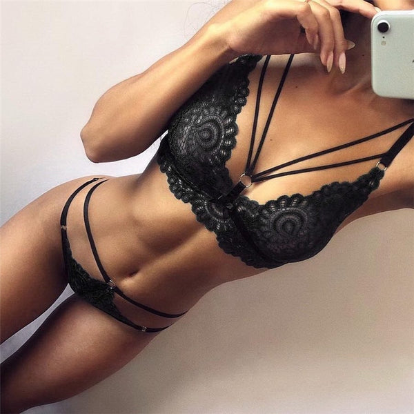 Fashion Women Bra Set Polyester Lace Lingerie Straps Sissy Panty Bandage Set Sexy Light and Breathable Underwear Sets