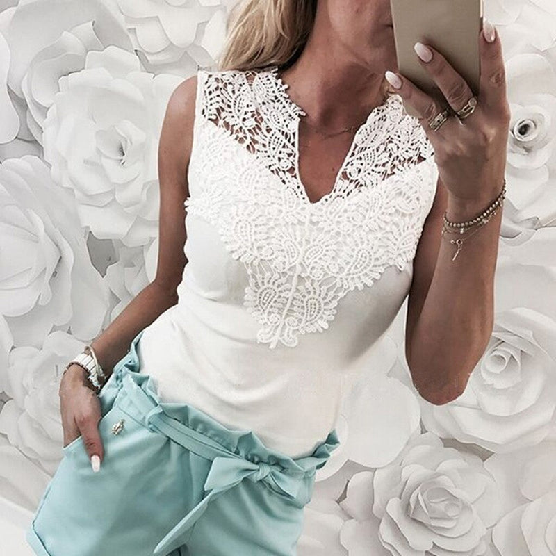 Fashion Women Camisoles Solid Lace Sleeveless Patchwork V-Neck Shirt  Tank Vest Blouse Cropped Tank Tops Vest Cropped Feminino