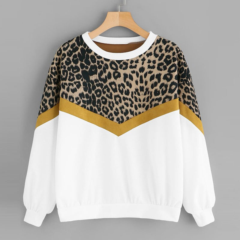 Fashion Womens Casual Sweatshirt New Long Sleeve Patchwork Leopard Print O-Neck Tops Sweatshirt