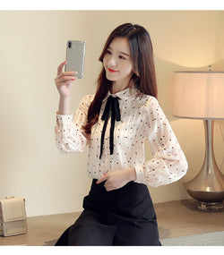 Fashion women's top and shirt chiffon shirt butterfly collar office shirt long sleeve print