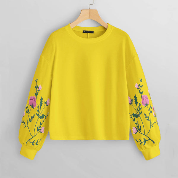 Sweatshirt  Women O-Neck Long Sleeve Botanical Floral Print Sleeve Pullovers Sweatshirt Top