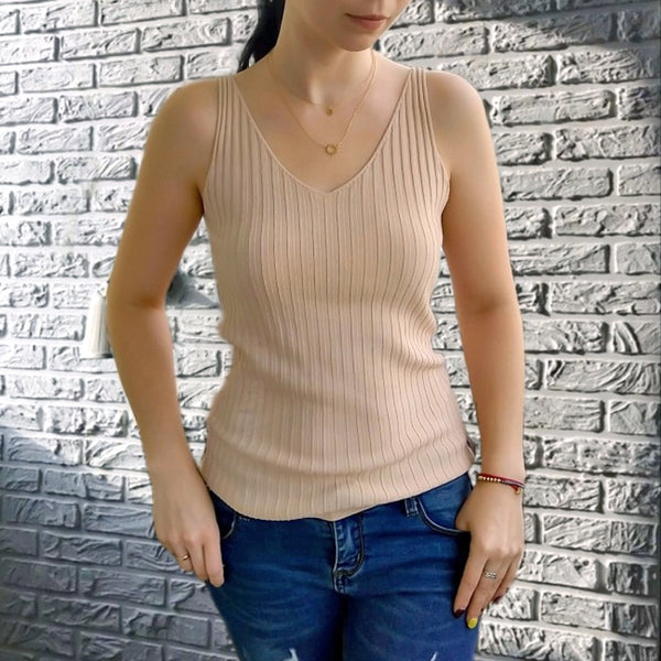 Strap knitted sexy V-neck sleeveless basic vest casual underwear close fitting vest