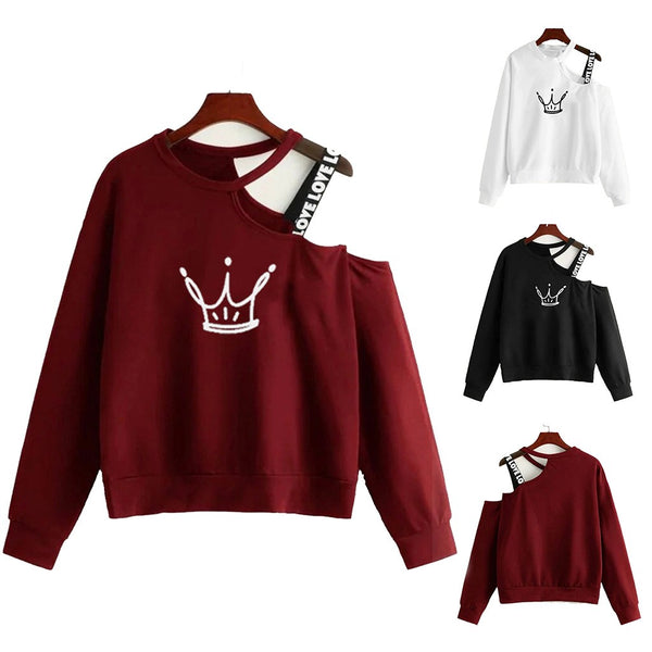 Ladies Crop Fluffy Sweatshirt Women Off Shoulder Strap Crop Top Long Sleeves Skew Collar Cartoon Print Anime Clothes Black White