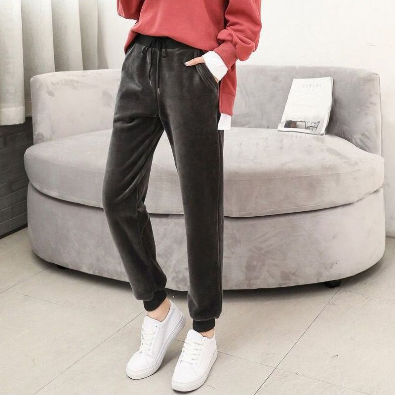 pants for women Harem Mid-Waist Elastic Velvet female pants Solid Color Loose trousers Straight Casual sweatpants Streetwear