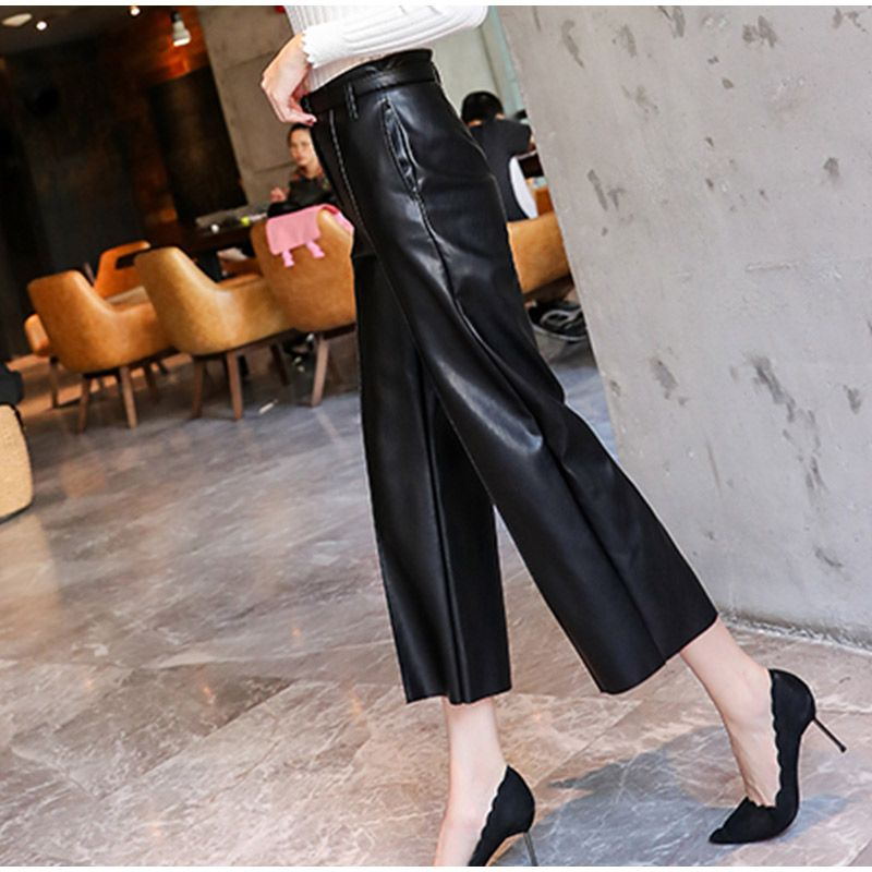 Spring Women PU Leather Pants Belted High Waist Faux Leather Ladies Trousers Winter Pants Brand Wide Leg Pants