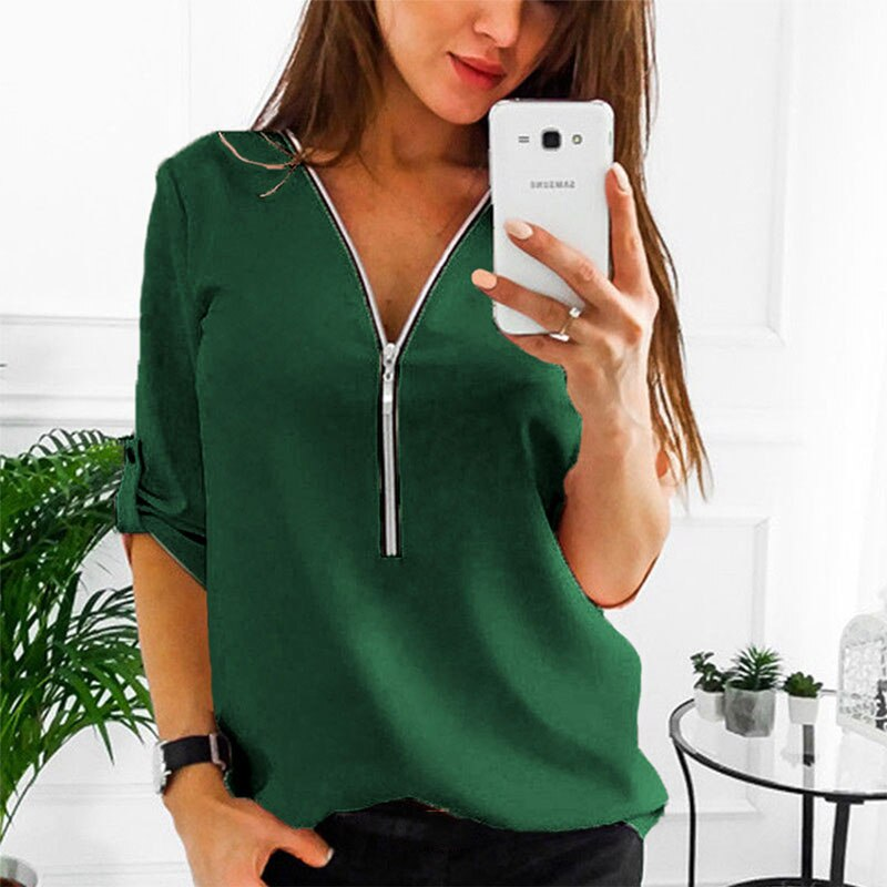 Autumn zipper short sleeve women's shirt sexy V-neck solid color women's top casual T-shirt