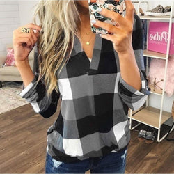 Women's long sleeve shirt V-neck Plaid print casual loose shirt long sleeve
